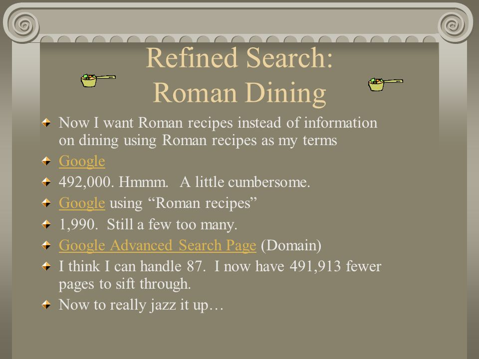 Refined Search: Roman Dining