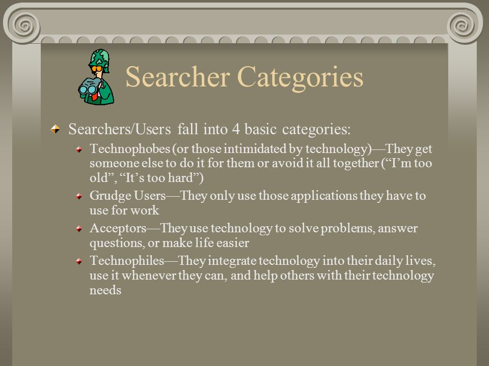 Searcher Categories Searchers/Users fall into 4 basic categories: