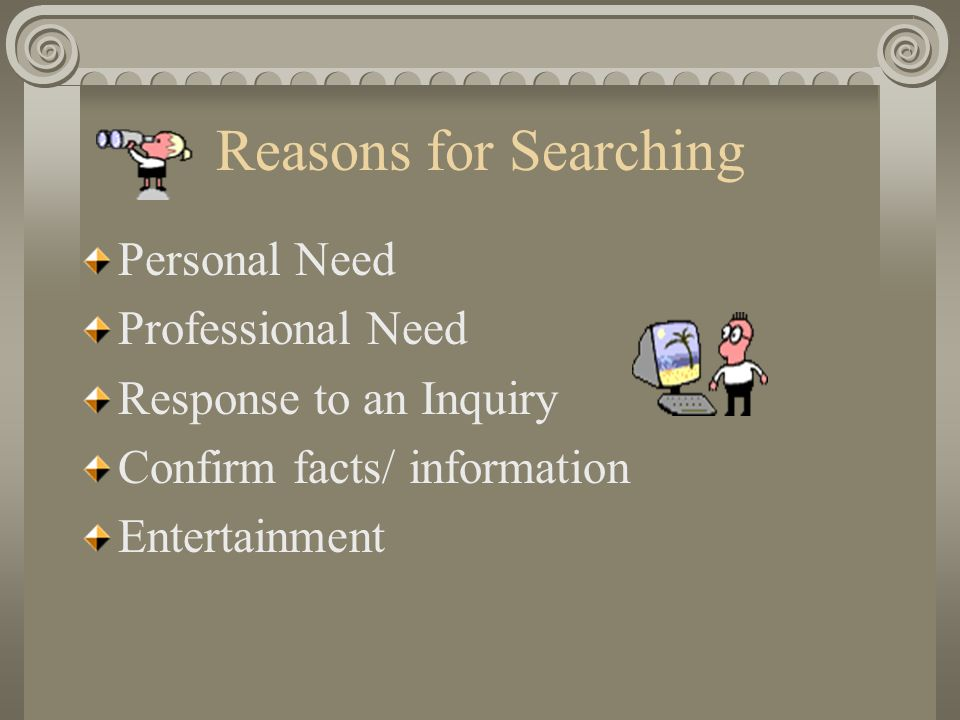 Reasons for Searching Personal Need Professional Need