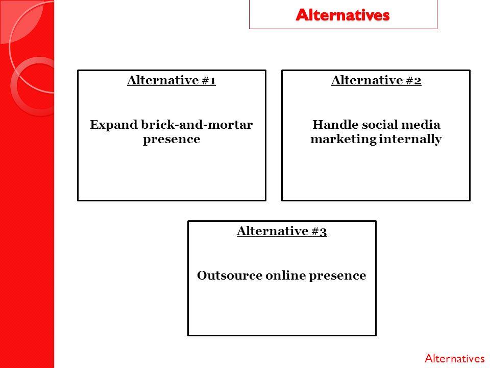 Alternatives Alternative #1 Expand brick-and-mortar presence