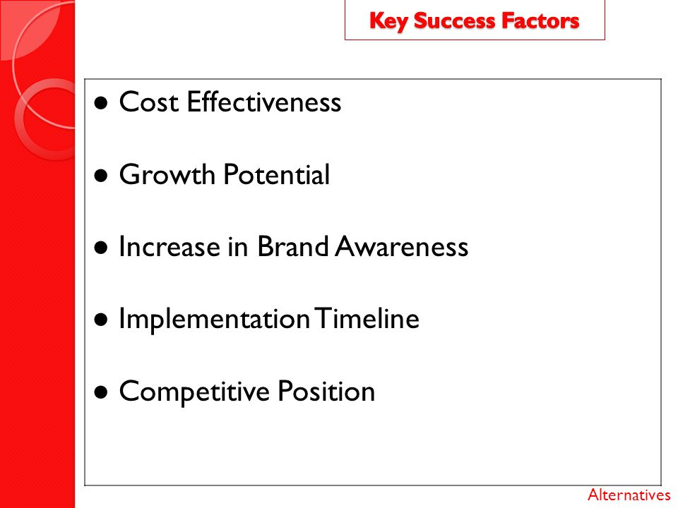 ● Increase in Brand Awareness ● Implementation Timeline