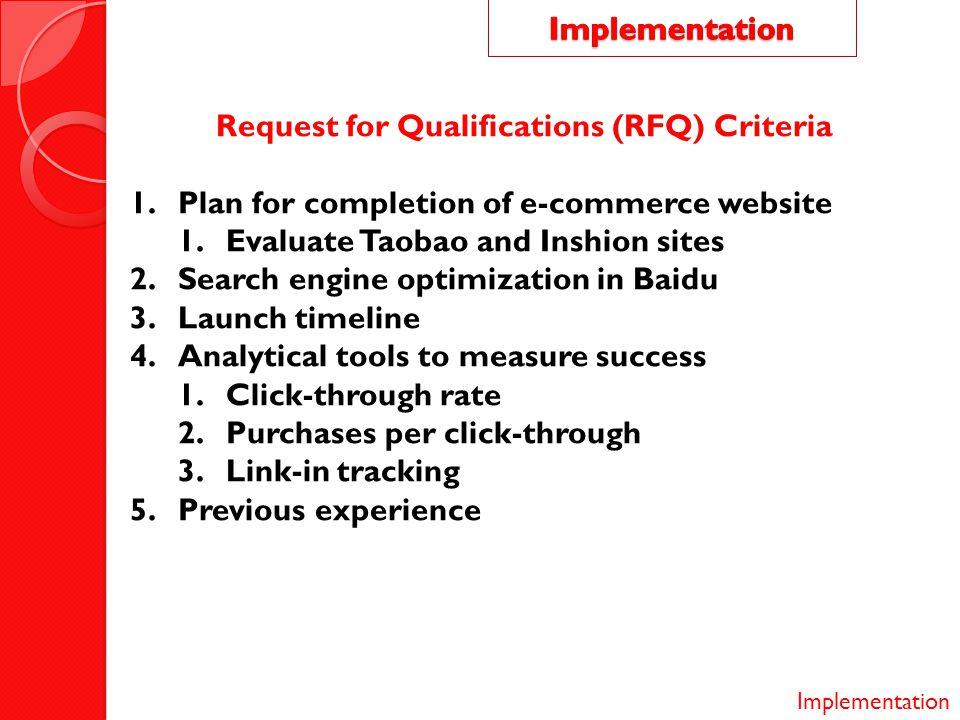 Request for Qualifications (RFQ) Criteria