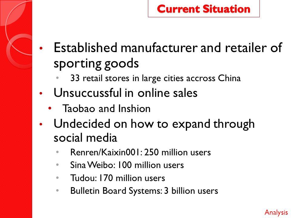 Established manufacturer and retailer of sporting goods