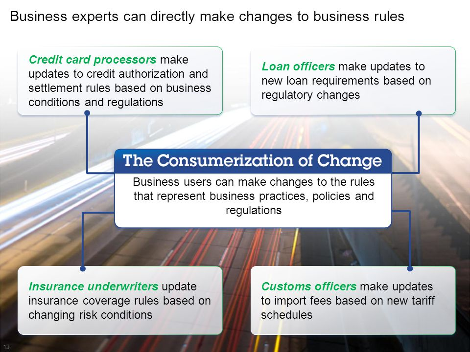 Business experts can directly make changes to business rules