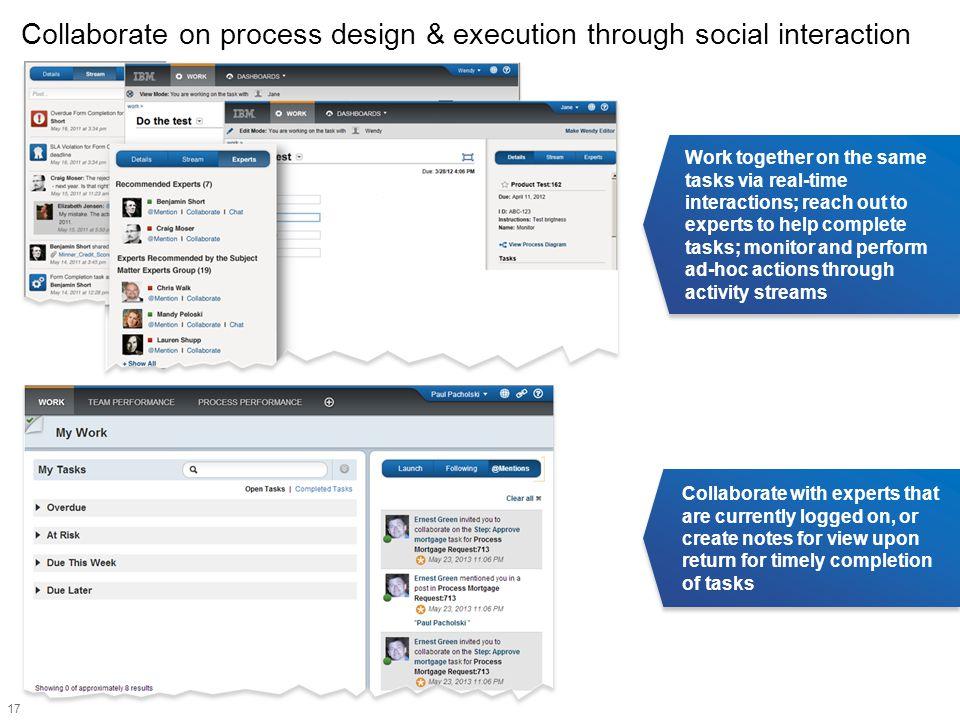 Collaborate on process design & execution through social interaction
