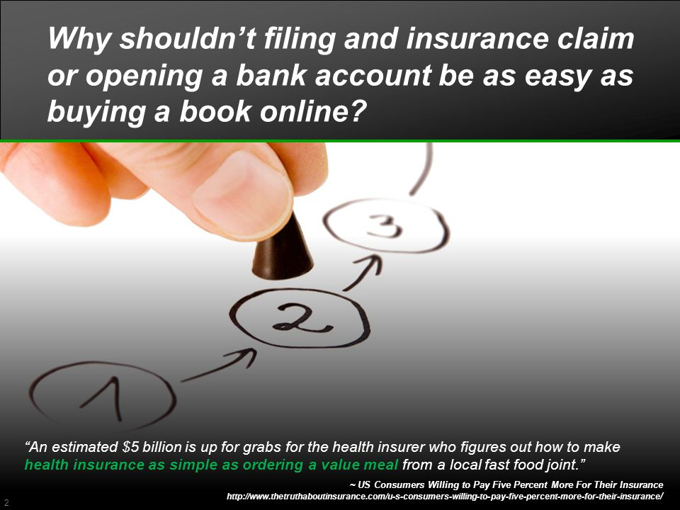 Why shouldn't filing and insurance claim or opening a bank account be as easy as buying a book online