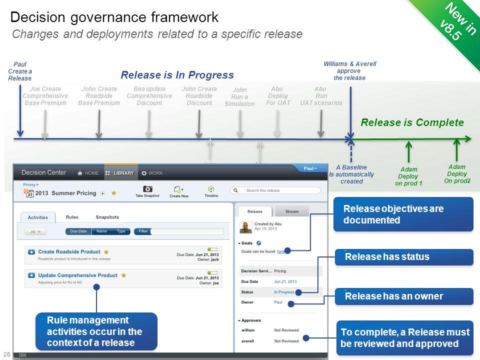Decision governance framework