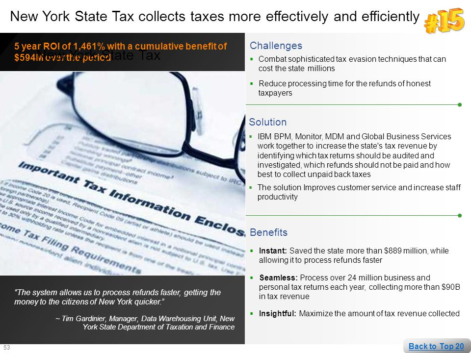 New York State Tax collects taxes more effectively and efficiently