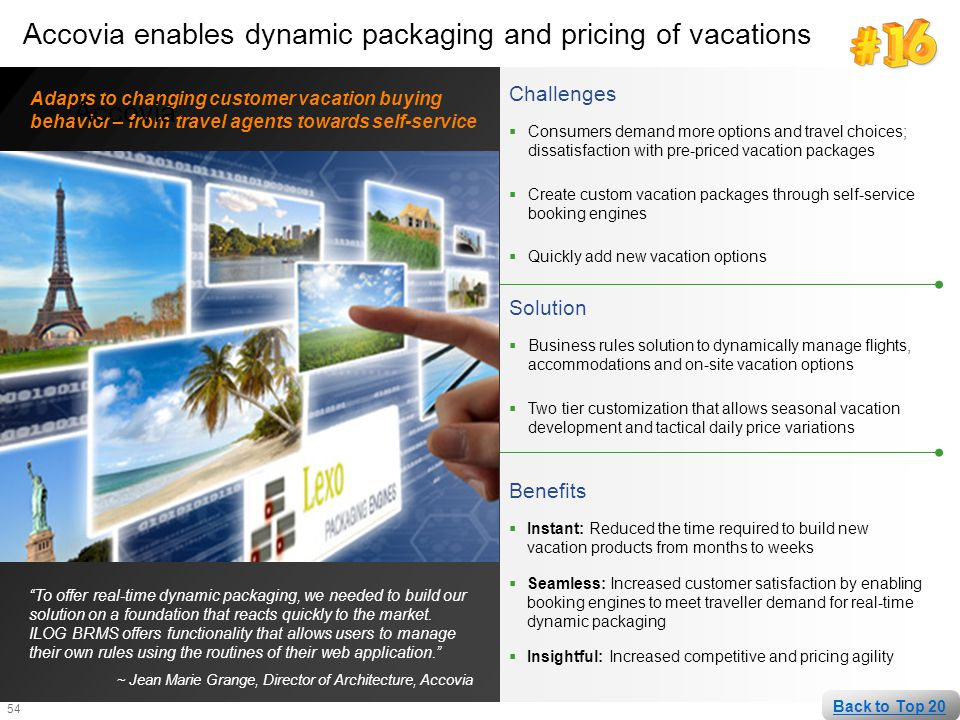 Accovia enables dynamic packaging and pricing of vacations Accovia