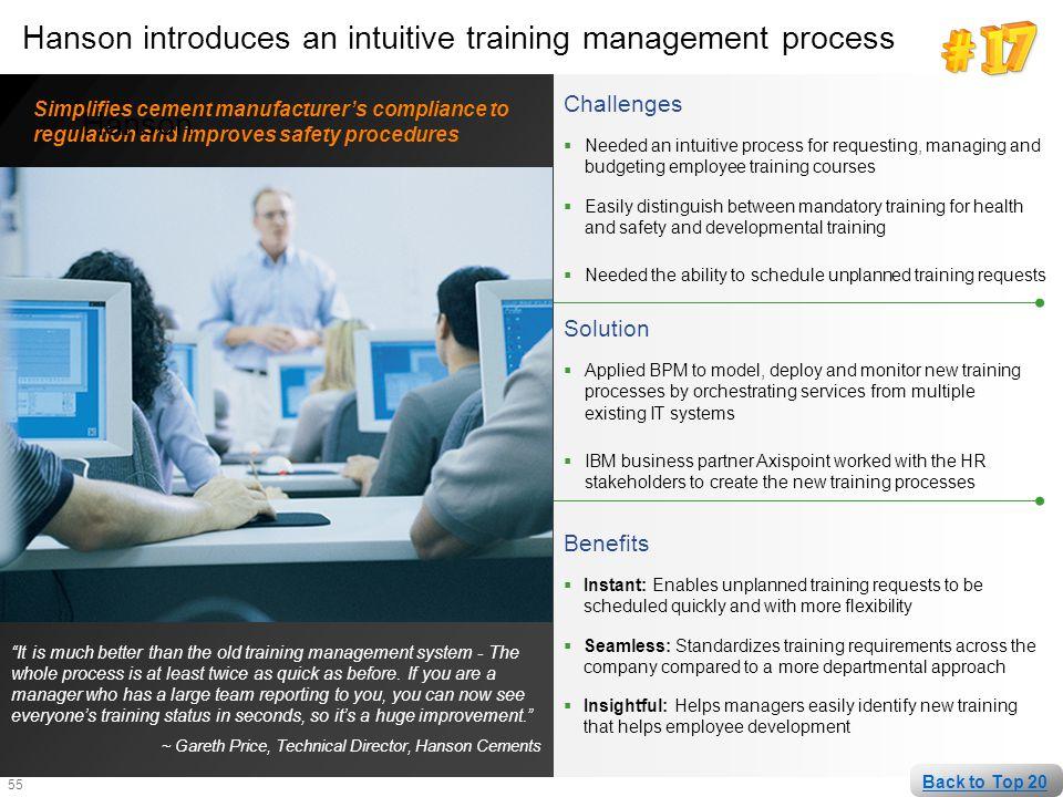 Hanson introduces an intuitive training management process Hanson