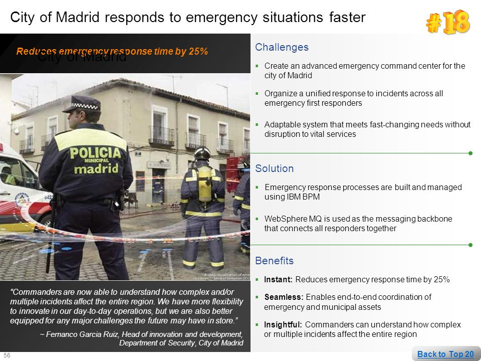 City of Madrid responds to emergency situations faster City of Madrid