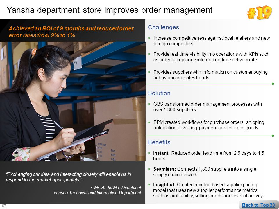 Yansha department store improves order management Yansha
