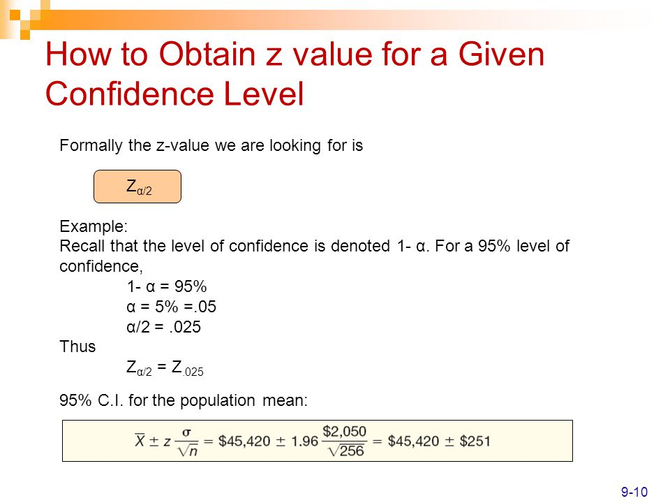 How to Obtain z value for a Given Confidence Level