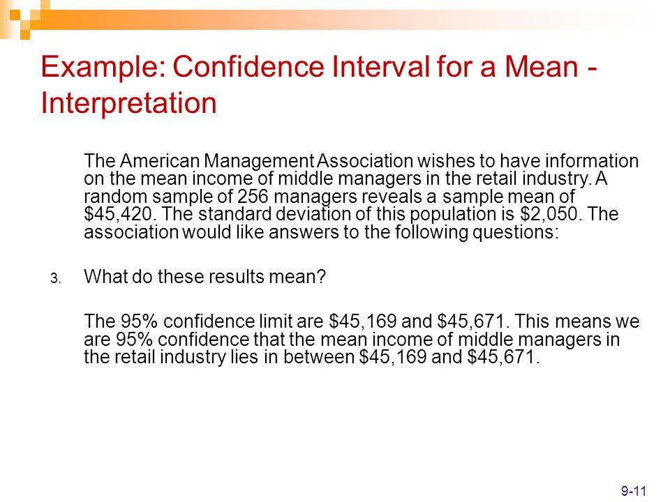 Example: Confidence Interval for a Mean - Interpretation
