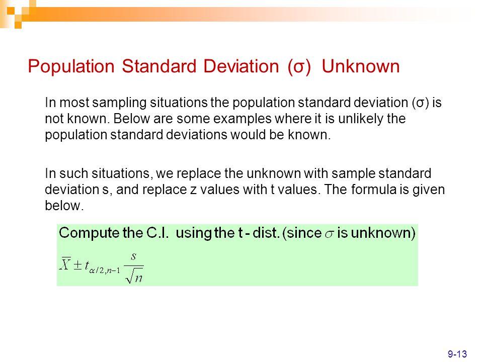 Population Standard Deviation (σ) Unknown