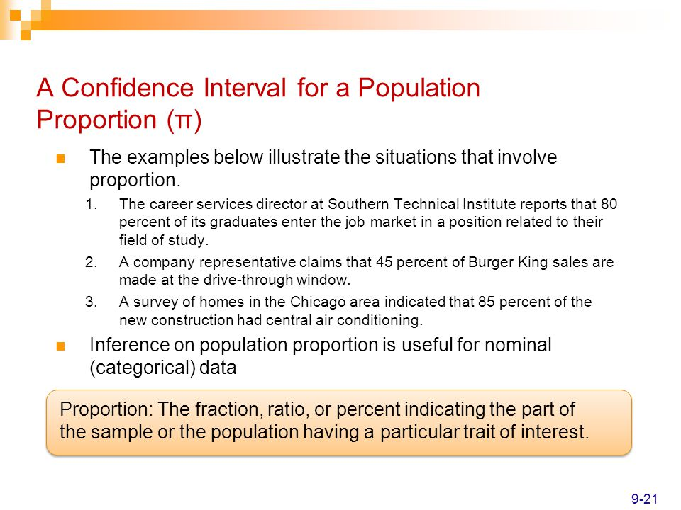 A Confidence Interval for a Population Proportion (π)