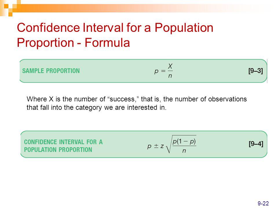 Confidence Interval for a Population Proportion - Formula
