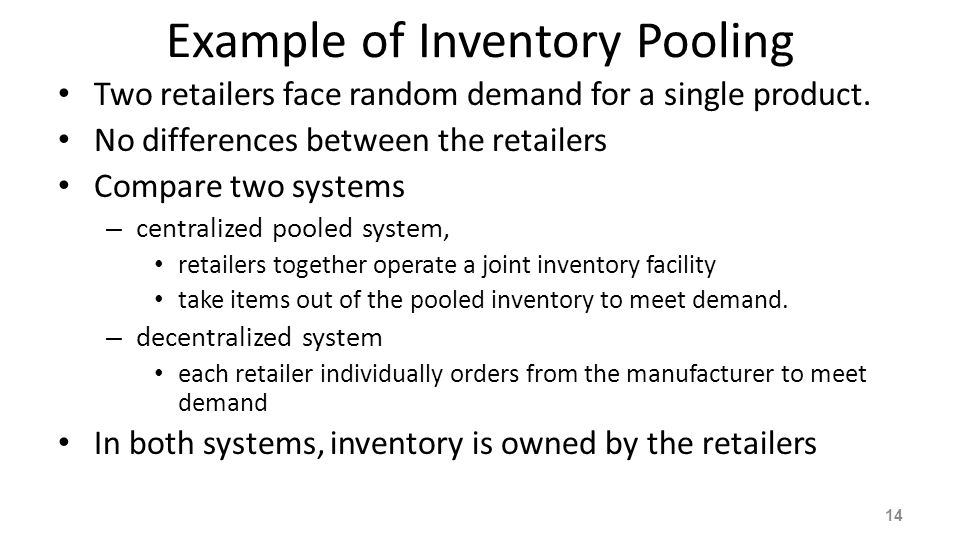 Example of Inventory Pooling