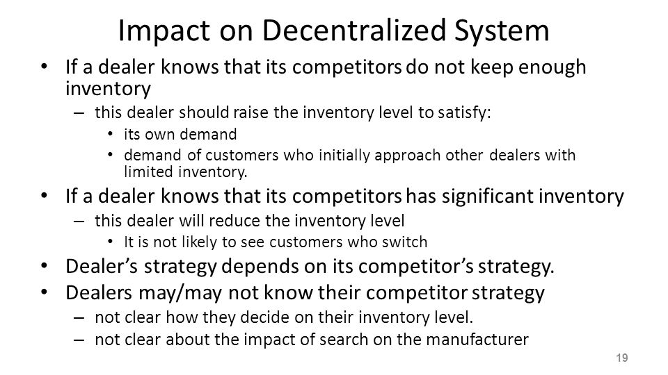 Impact on Decentralized System