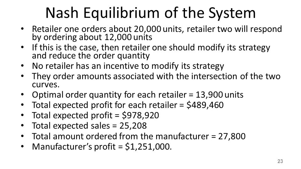 Nash Equilibrium of the System