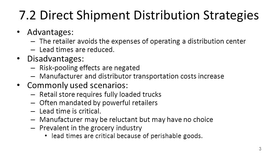 7.2 Direct Shipment Distribution Strategies