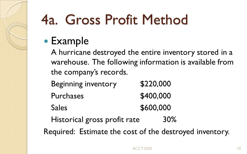 4a. Gross Profit Method