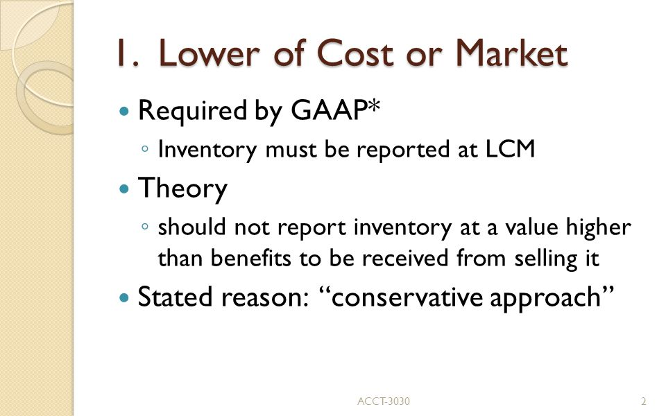 1. Lower of Cost or Market Required by GAAP* Theory