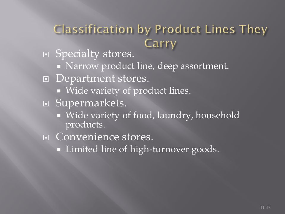 Classification by Product Lines They Carry