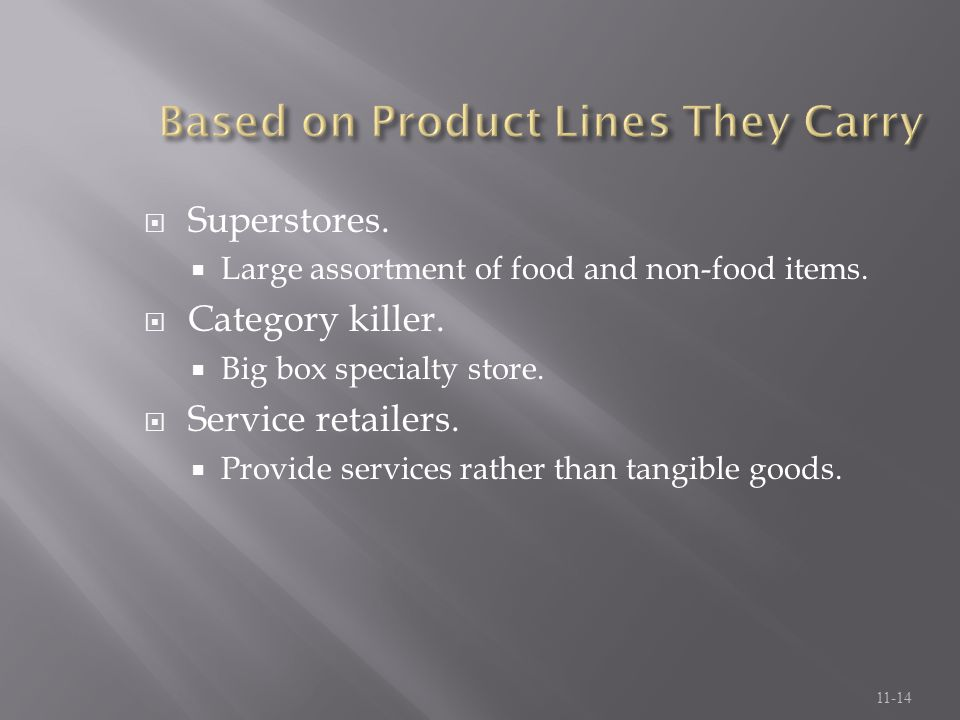Based on Product Lines They Carry