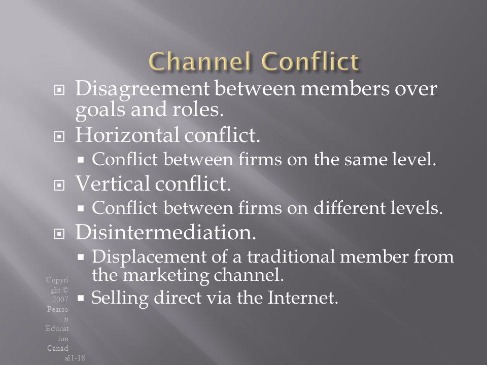Channel Conflict Disagreement between members over goals and roles.