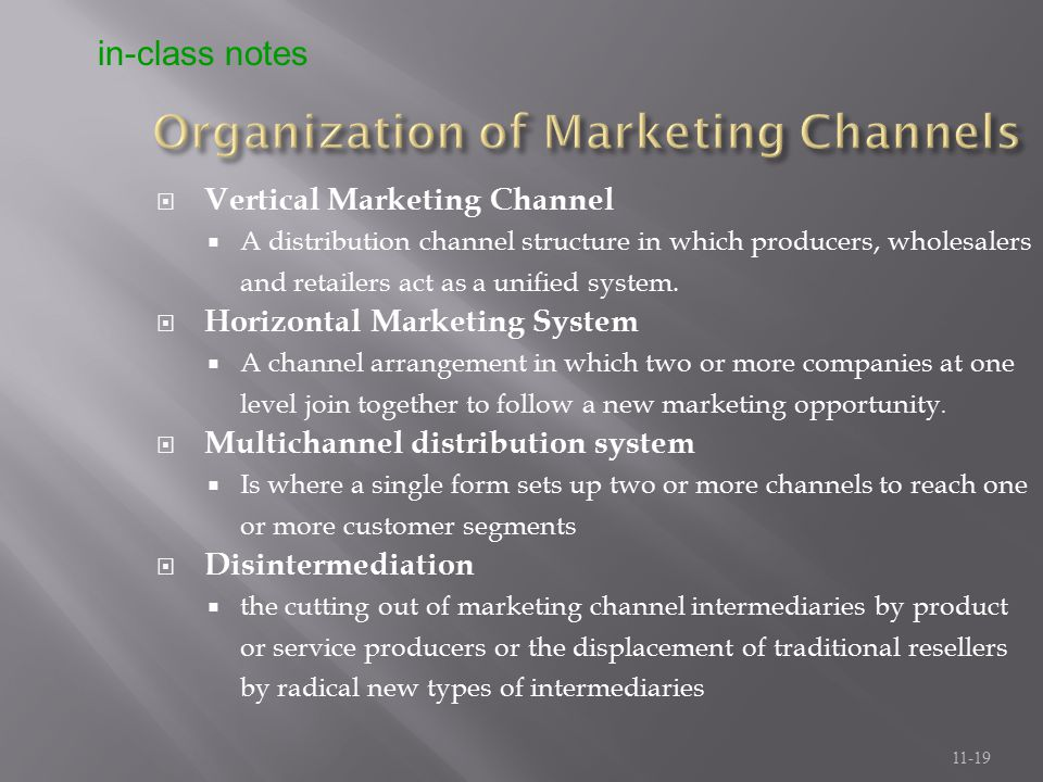 Organization of Marketing Channels