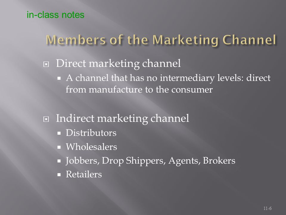 Members of the Marketing Channel