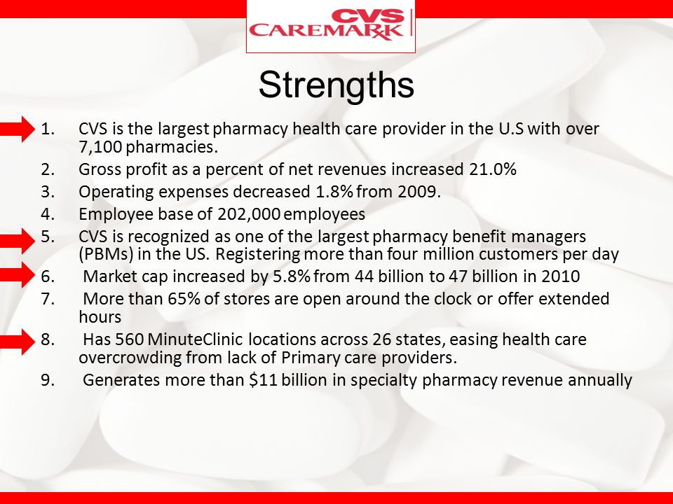 Strengths CVS is the largest pharmacy health care provider in the U.S with over 7,100 pharmacies.