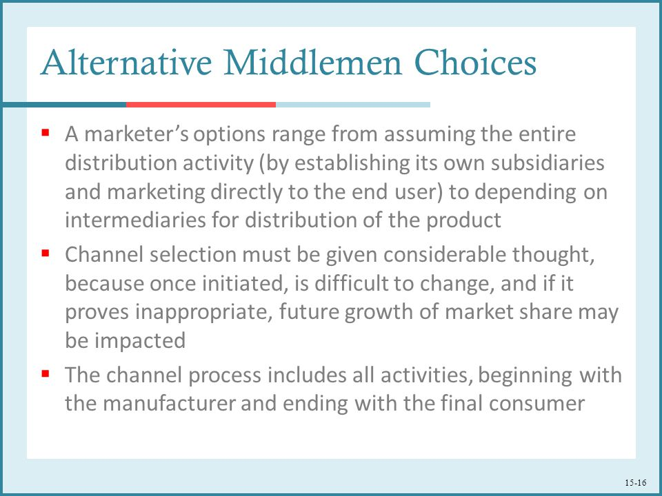 Alternative Middlemen Choices