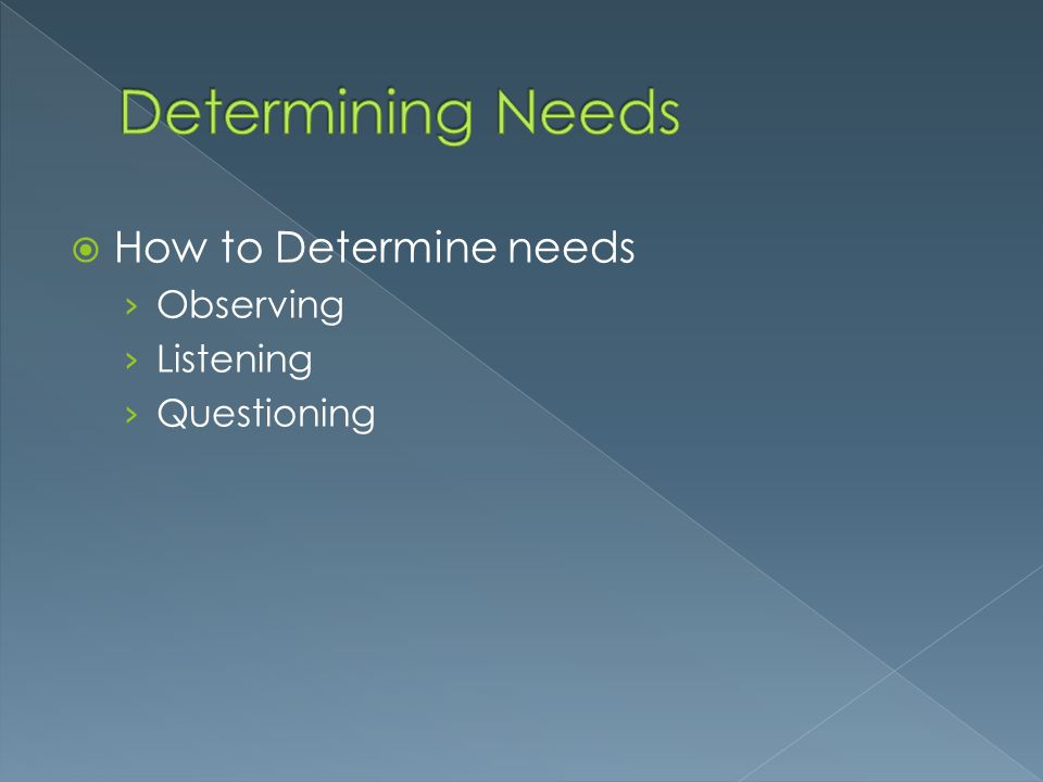 Determining Needs How to Determine needs Observing Listening