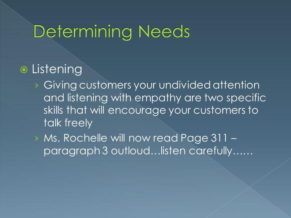 Determining Needs Listening