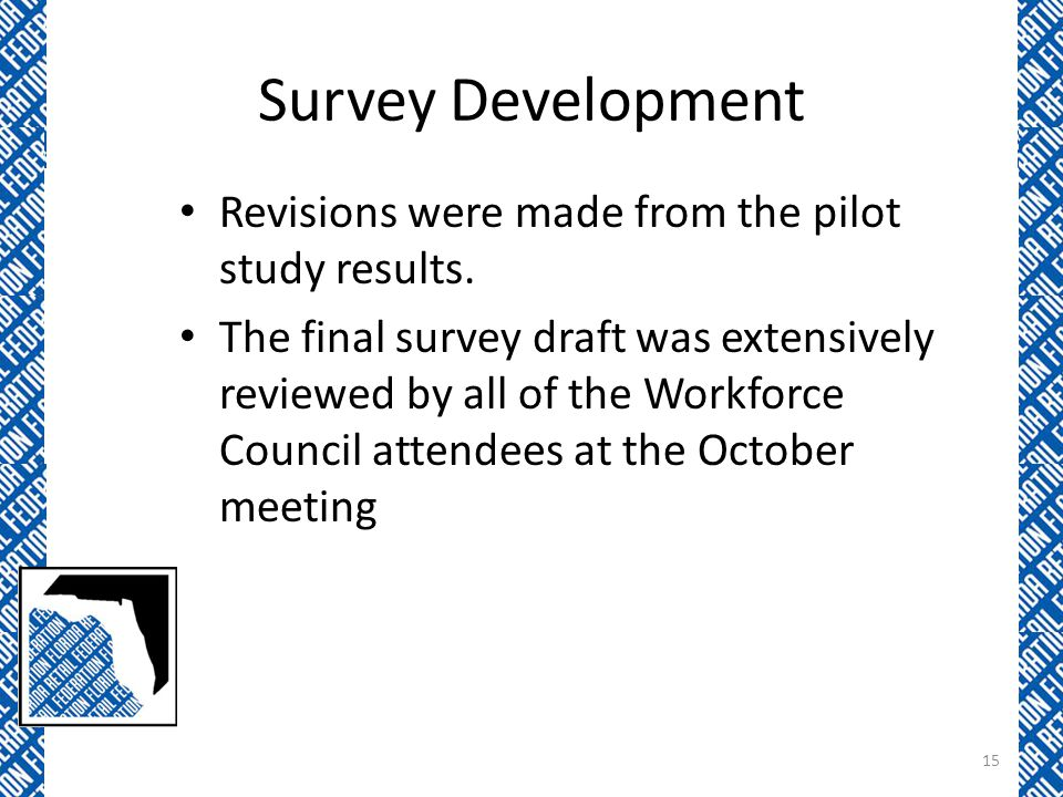 Survey Development Revisions were made from the pilot study results.