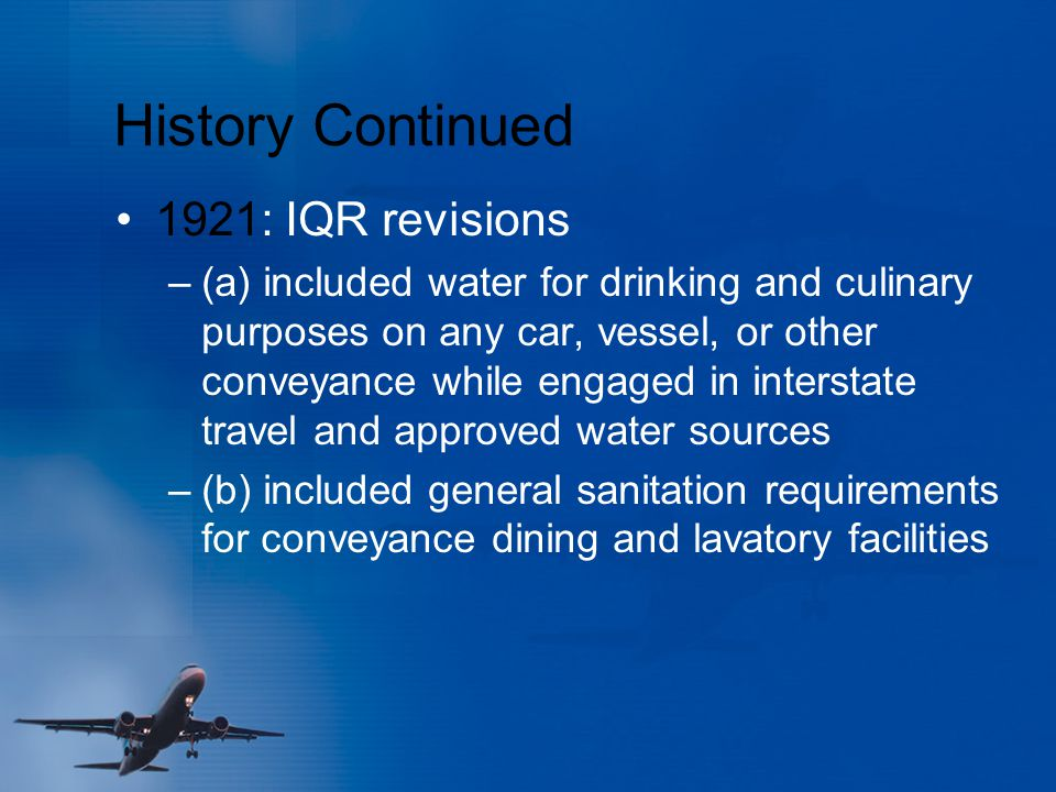 History Continued 1921: IQR revisions