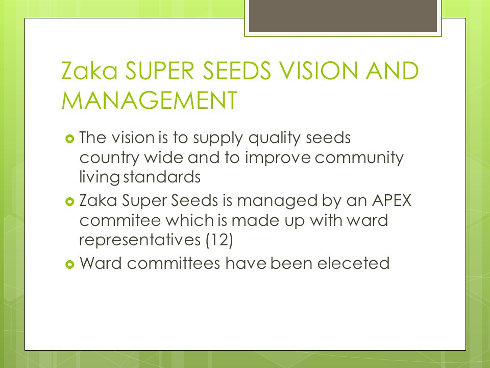 Zaka SUPER SEEDS VISION AND MANAGEMENT