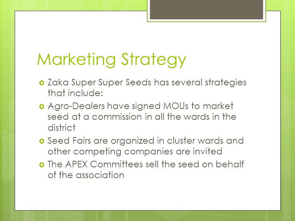 Marketing Strategy Zaka Super Super Seeds has several strategies that include: