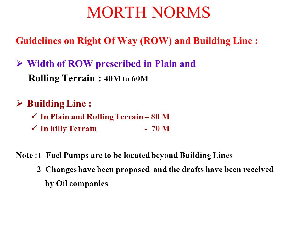 MORTH NORMS Guidelines on Right Of Way (ROW) and Building Line :