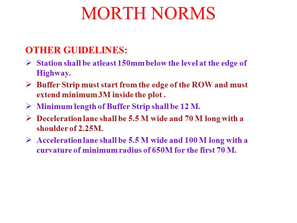 MORTH NORMS OTHER GUIDELINES: