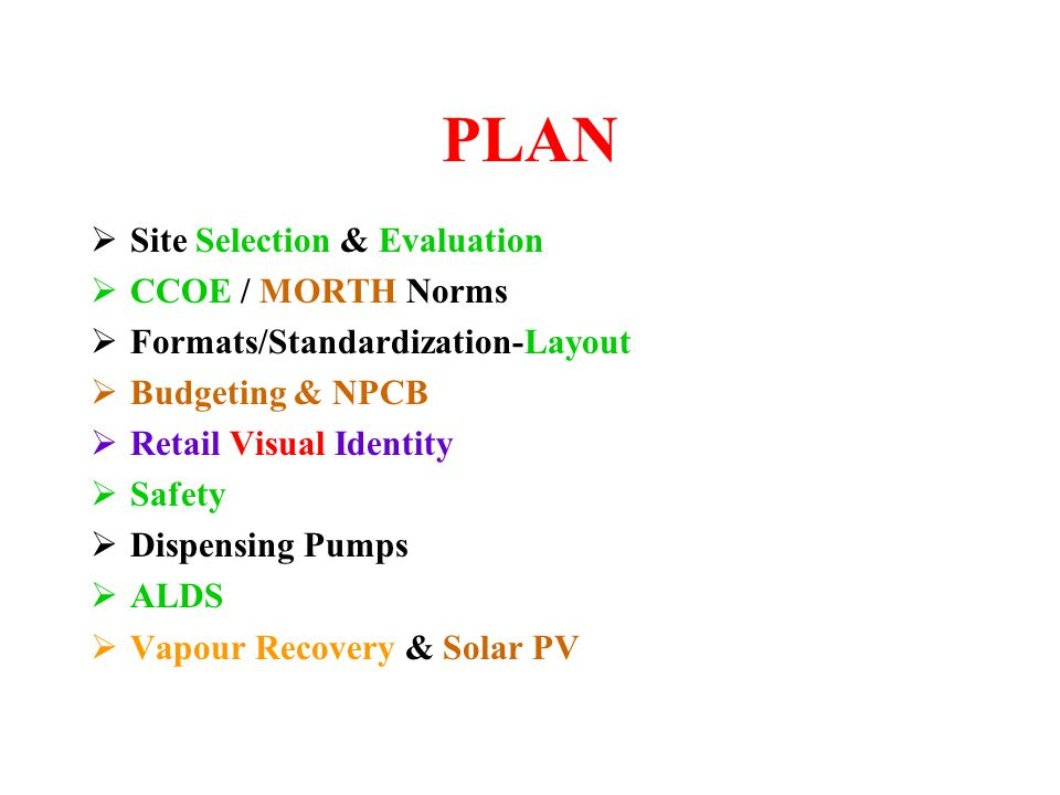 PLAN Site Selection & Evaluation CCOE / MORTH Norms