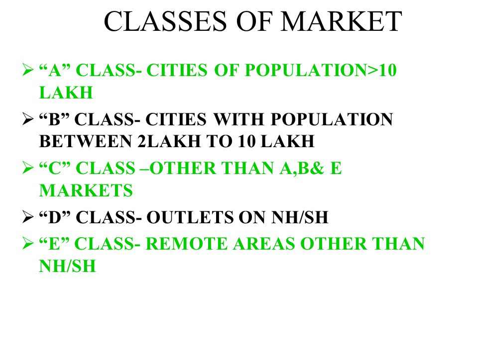CLASSES OF MARKET A CLASS- CITIES OF POPULATION>10 LAKH