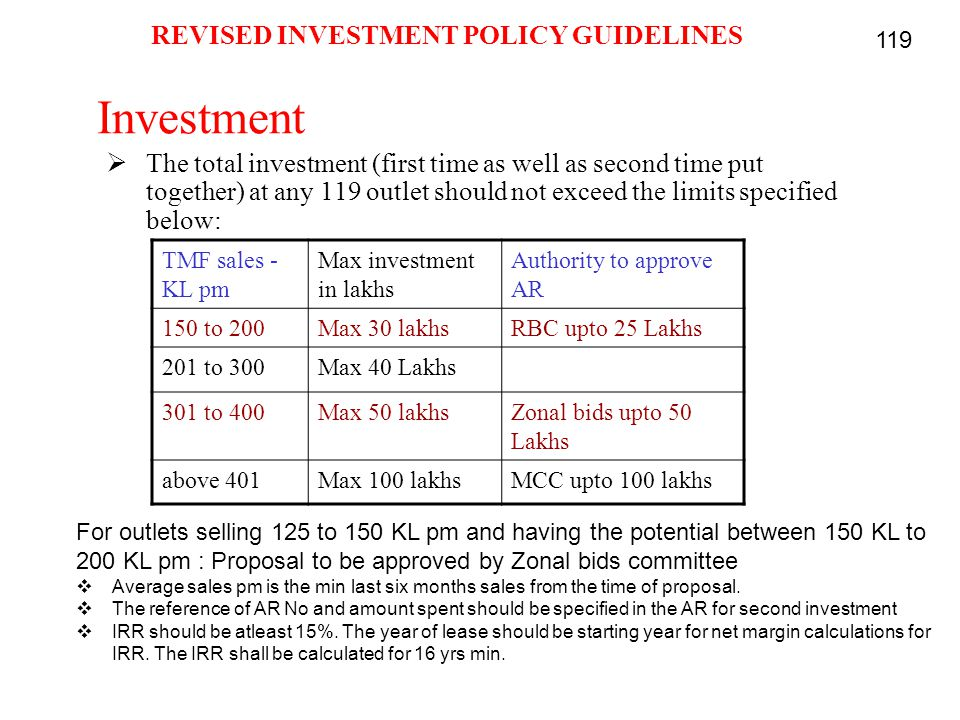 REVISED INVESTMENT POLICY GUIDELINES