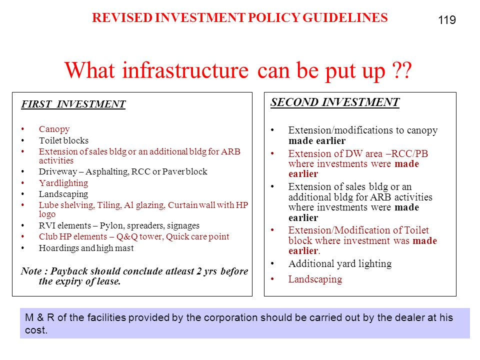 What infrastructure can be put up