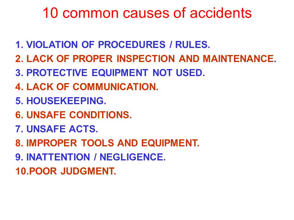 10 common causes of accidents