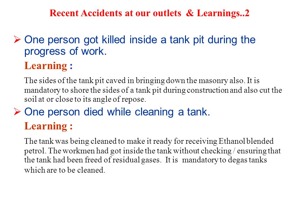Recent Accidents at our outlets & Learnings..2