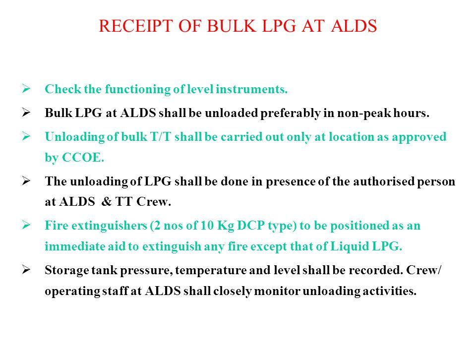 RECEIPT OF BULK LPG AT ALDS