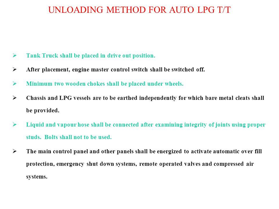 UNLOADING METHOD FOR AUTO LPG T/T